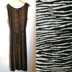VINTAGE Animal Print Gold & Black Long Tunic Top